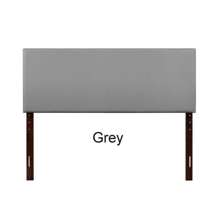 Lyke Home Ava Faux Leather Queen Headboard (Grey - Grey Finish)