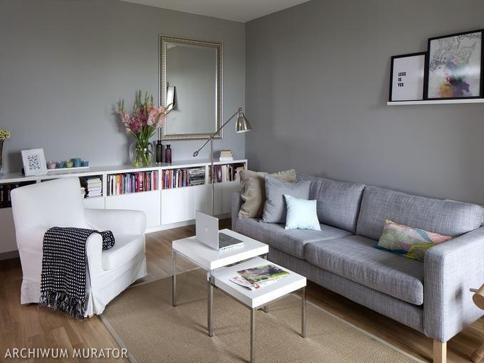 Szare ściany w salonie