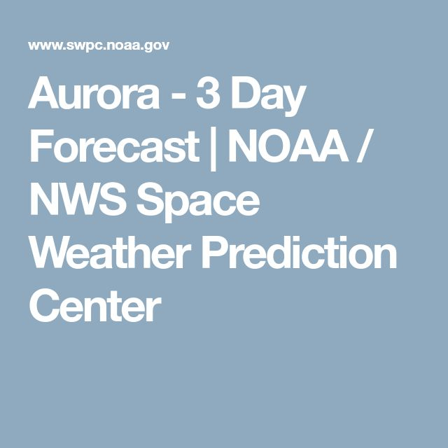 Aurora - 3 Day Forecast | NOAA / NWS Space Weather Prediction Center