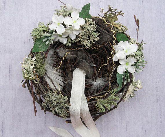 Rustic Ring Pillow Nest  Fresh White Blossoms by BloomDesignStudio, $34.00