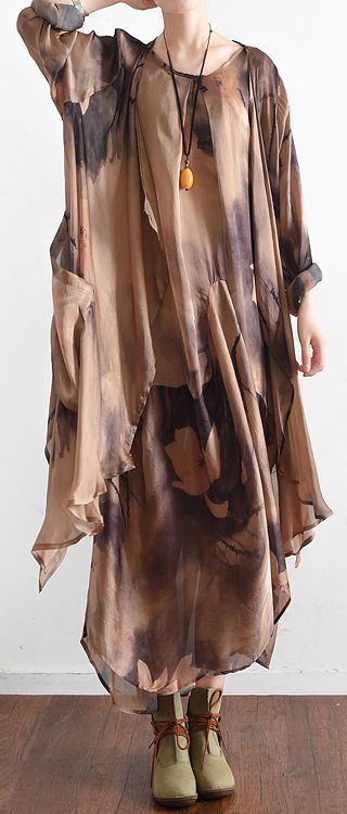 $124-2017-fall-khaki-print-silk-dresses-floral-baggy-caftans-two-pieces