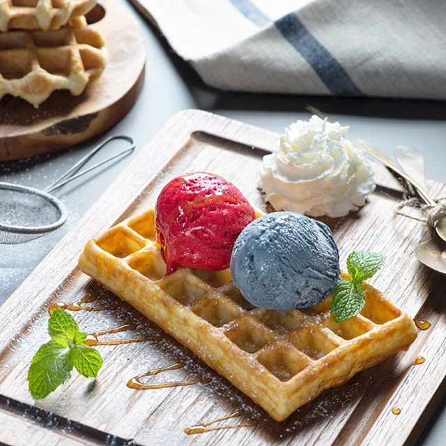 Delicious freshly made golden waffles paired with your choice of Gelato Secrets's artisanal all-natural gelato or sorbetto. Simply irresistible! #gelatosecrets #waffles #gelato #icecream #dessert #sweettooth #guguide #balieats #balifoodies #jktfoodies #waffle #kulinerbali #homemade #natural #foodporn #breakfast #brunch #balibible #bali #yummy #foodietribe