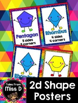 Teach your students about 2D Shapes with these 20 cute and colourful posters. There are 2 versions;  1) Shape and Name 2) Shape, Name and Properties  Shapes included;  Pentagon x 2 Rhombus x 2 Hexagon x 2 Triangle x 2 Square x 2 Trapezoid x 2 Trapezium x 2 Circle x 2 Octagon x 2 Rectangle x 2
