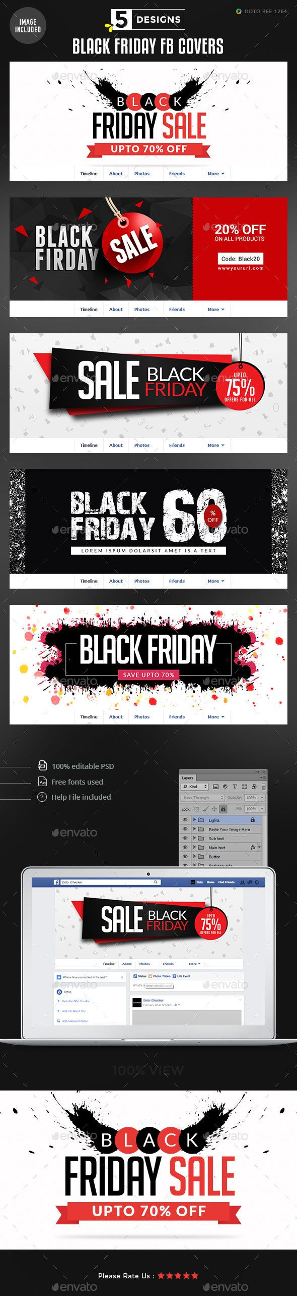 Black Friday Facebook Covers - 5 Designs - Images Included