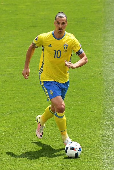 Zlatan Ibrahimovic of Sweden in action during the UEFA EURO 2016 Group E match between Italy and Sweden at Stadium Municipal on June 17 2016 in...