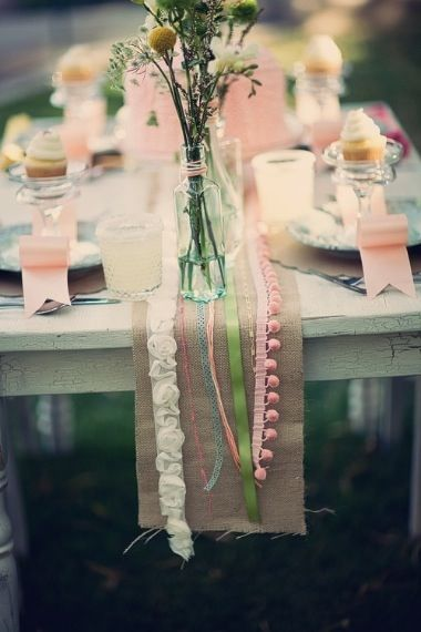 We almost did this at a styling event and now I'm kicking myself that we didn't (table runner idea).: Wedding Tables, Ideas, Tables Sets, Burlap Tables Runners, Ribbons, Burlap Table Runners, Bridal Shower, Burlap Runners, Burlap Ribbon