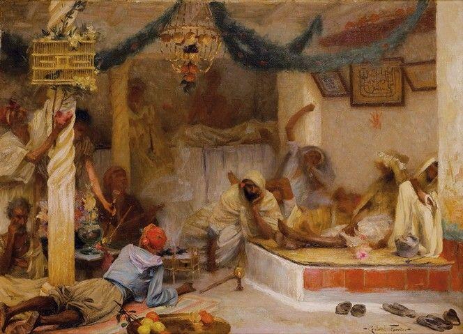 Algérie - Peintre Français Gabriel Ferrier (1847 – 1914,), huile sur toile, Titre :  Les fumeurs de kiff