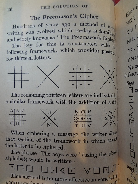The Freemason's Cipher from a book on codes and ciphers by CareerCommons, via Flickr