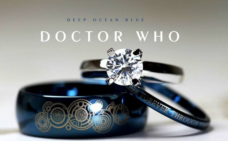 Together forever through time & space! Doctor Who-inspired wedding ring set: http://j.mp/1uqu8S1 by Cloud9Tungsten DoctorWho