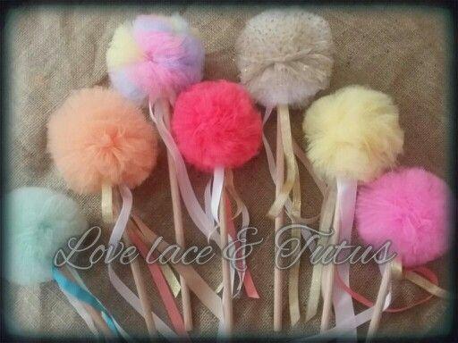 Tulle fairy wands - handmade