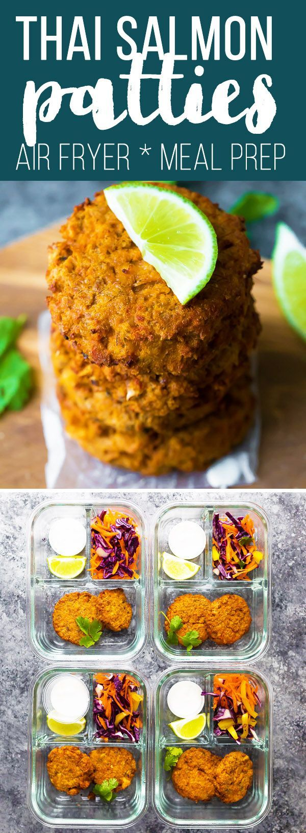 These easy Thai Salmon Patties can be prepped ahead and frozen for an easy dinner recipe. Thaw and cook in the frying pan or in an air fryer for crispy salmon patties with a punch of spicy Thai curry flavor! canned salmon patties, air fryer salmon patties, salmon patties recipe #sweetpeasandsaffron #mealprep #airfryer #salmon