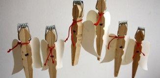 bastelideen-wascheklammer-weihnachten-holz-engel-fluegel-papier-roter-faden-feder