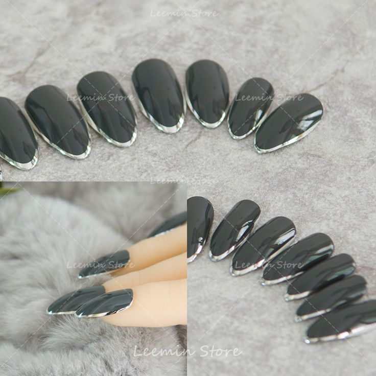 Grandmother grey pointed silver edging nails long tip false nail