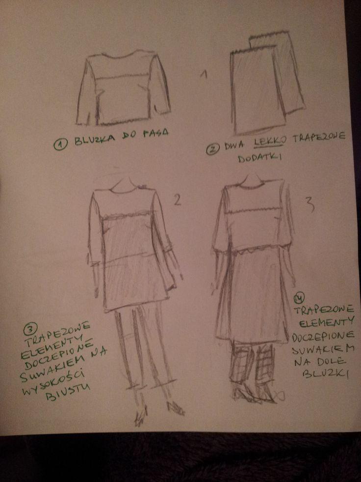 Bluzka i 2 długości tuniki.  #mnishkha #konkurs #polskidesign #polishfashion #polscyprojektanci #zostanprojektantem