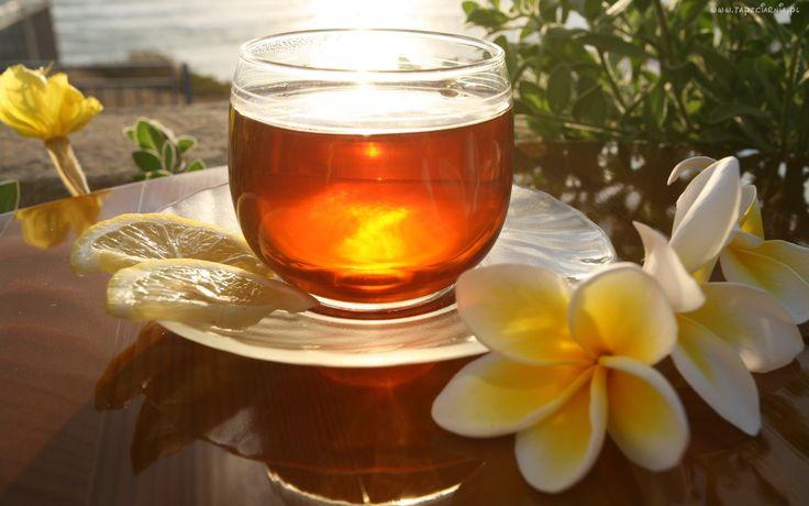 Szklanka, Talerzyk, Herbata, Kwiatki, Odbicie
