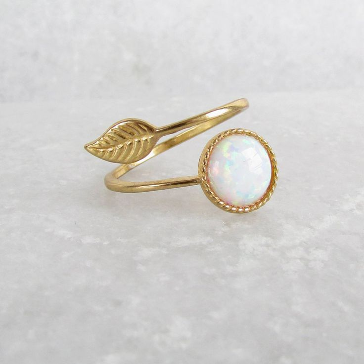Adjustable Opal Ring - White Opal, Gold Rings, Stacking Rings, Boho Chic, Trending Now, October Birthstone, Leaf Ring, October Gemstone