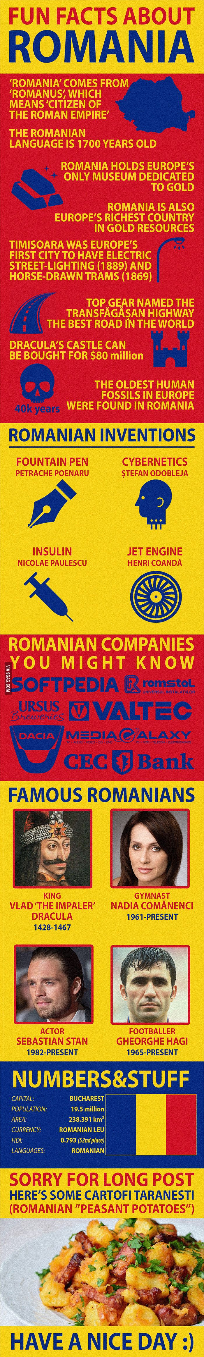 Fun Facts about Romania https://www.youtube.com/channel/UC76YOQIJa6Gej0_FuhRQxJg