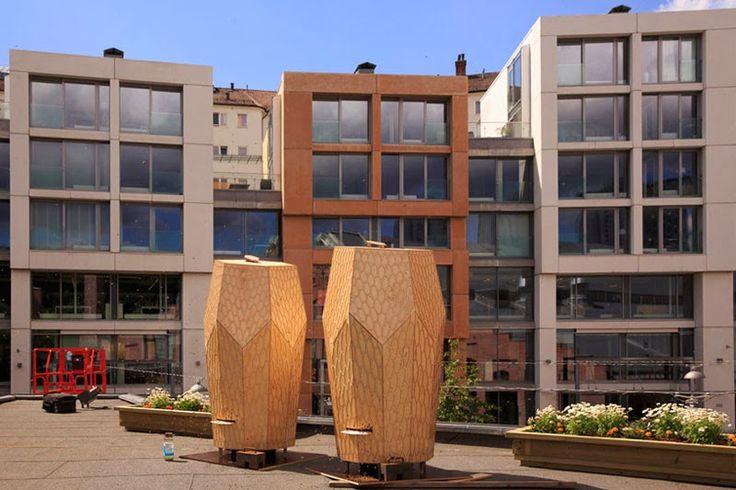 Snøhetta crea las colmenas de madera Vulkan Beehive para cobijar las abejas en Oslo