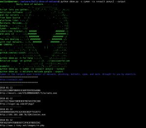 DDOM or Daily Dose of Malware is a Script lets you gather malicious software and c&c servers from open source platforms like Malshare, Malcode, Google, Cymon – vxvault, cybercrime tracker and c2 for Pony. It can display info, export results to text file or download malicious software.