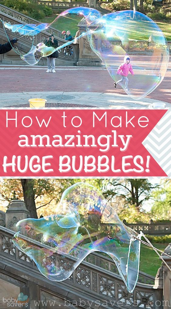 Learn how to make huge bubbles at home! This is the best DIY bubbles recipe and it includes the tools needed to blow ridiculously crazy big bubbles!
