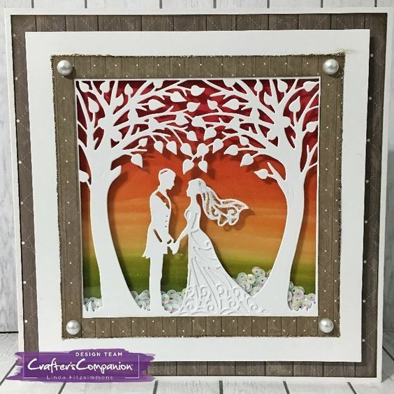 Shaker card made using Sara Signature Rustic Wedding Collection – Just Married die. Designed by Linda Fitzsimmons. #crafterscompanion #ccgemini