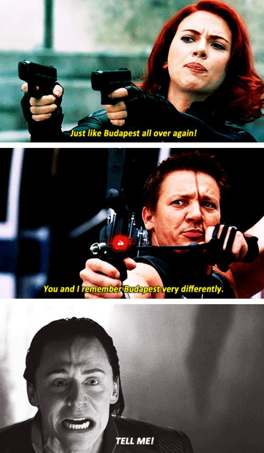 """Yeah, Hiddles reaction to the """"Budapest"""" comment between Black Widow and Hawkeye is definitely valid. What happened there???"""