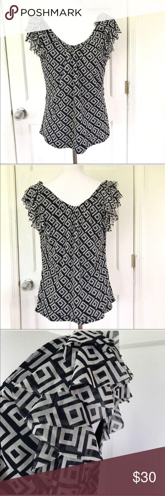 Blue and white ruffle sleeve INC shirt Super cute gauzy INC international concepts ruffle sleeve top. Lightweight & comfortable. Size large. INC International Concepts Tops Tees - Short Sleeve