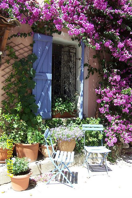 Old Grimaud, Provence, France - how nice would it be to sit in those chairs and enjoy a glass of champagne?
