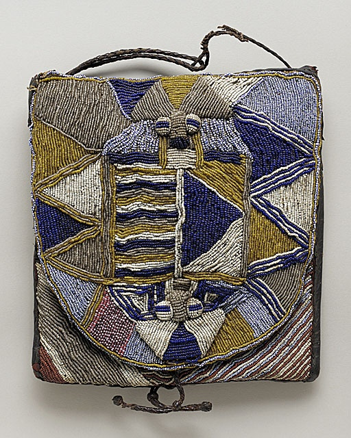 Ifa bag - 20th century, Yoruba peoples, Africa - ritual bag made from textiles,paper, leather and glass beads