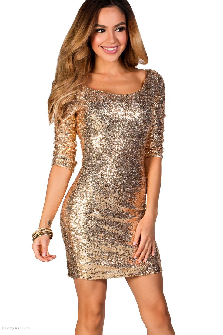 Sparkly Fitted Short Gold Sequin Dress with Sleeves