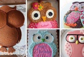 Krásný narozeninový dort ve tvaru sovičky s jedním trikem