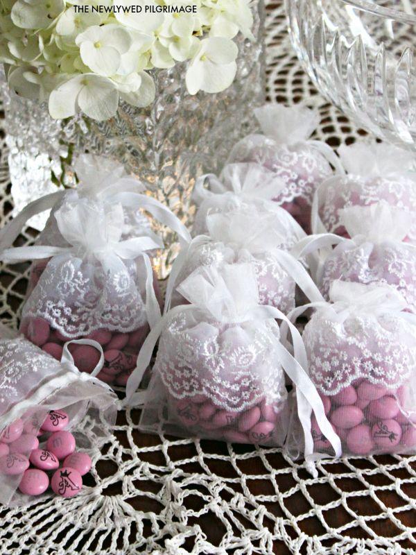 Elegant Bridal Shower Favors - Princess Bridal Shower - Lace Baby or Bridal Shower - Custom MMs and Lace #MC #sponsored #ambassador