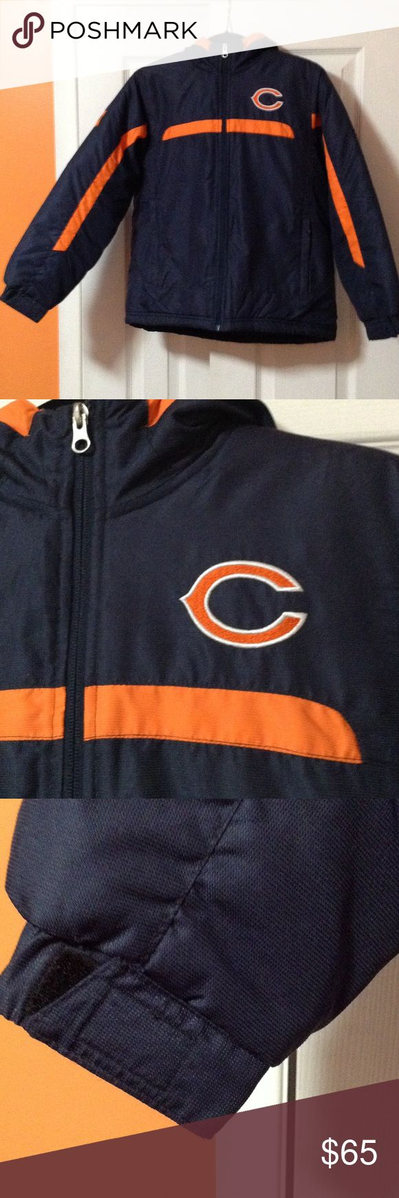 NFL Chicago Bears Youth Jacket 🏈 NFL Chicago Bears Youth Jacket. In Absolutely Great Shape!!! You will be ready for the game and support your Team!!! It's A Youth Medium 10/12 Color is Navy Blue with an Orange trim NFL Jackets & Coats