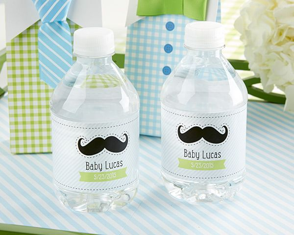 Personalized Water Bottle Label - Little Man Baby Shower Collection By Kate Aspen