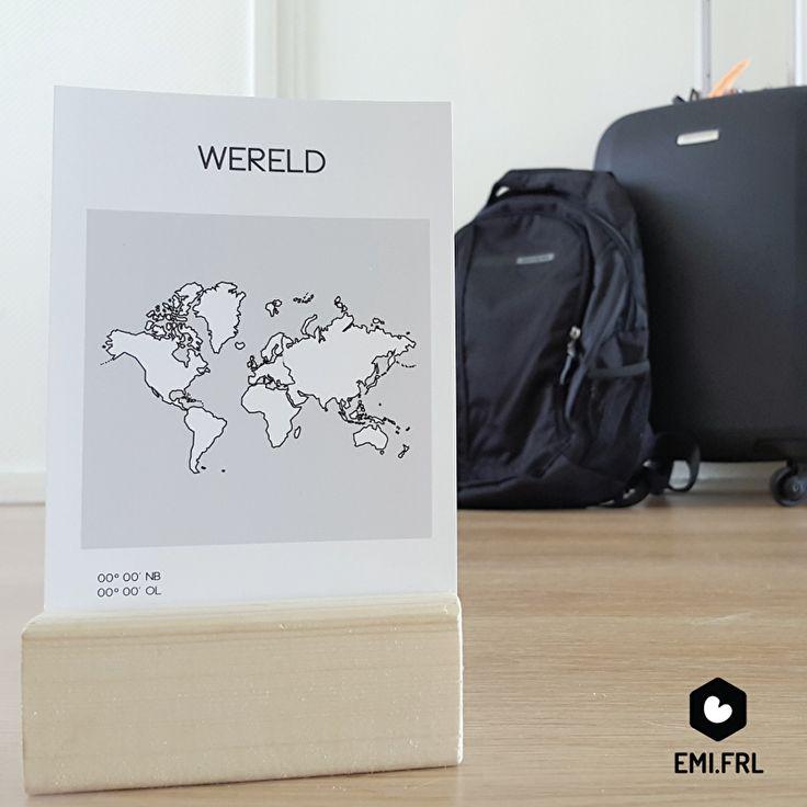 Ansichtkaart Wereld, formaat A6. Van Emi.frl. Voor de echte wereldreiziger!