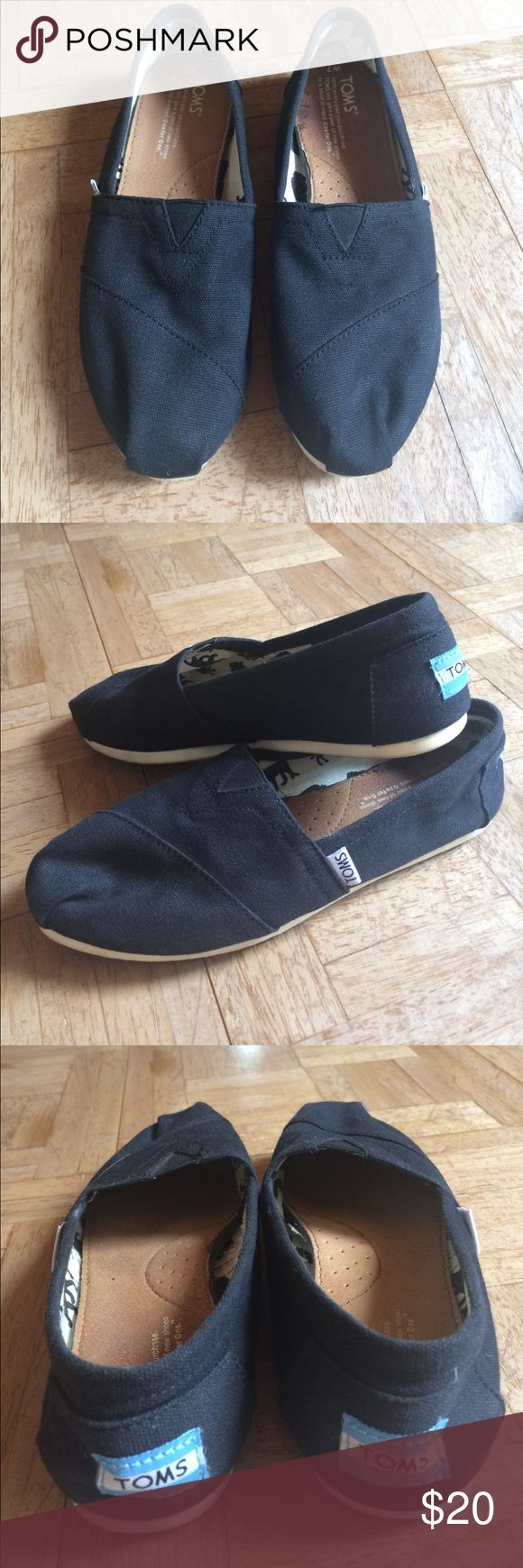 Toms Black Canvas Shoes Gently worn Toms canvas shoes. Size 7. Still in great shape with lots of life left! TOMS Shoes