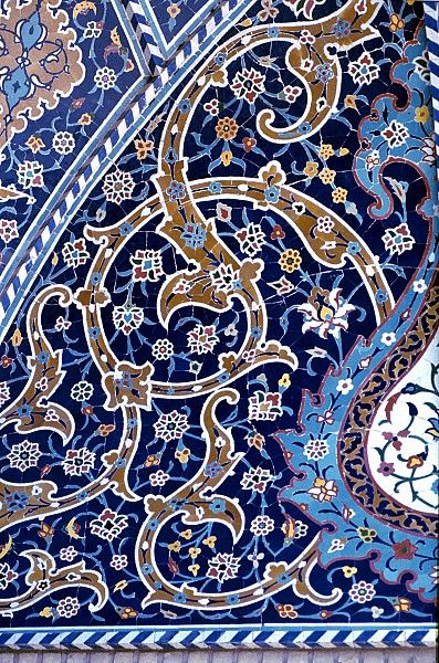 Image IRA 3111 featuring decorated area from the Fatima's Haram, in Qom, Iran, showing Floriated Arabesque using ceramic tiles, mosaic or pottery.