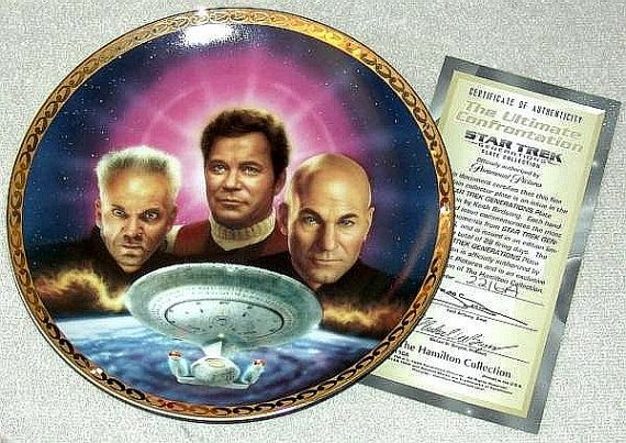 Vintage 1995 Star Trek Generations Plate Collection: The Ultimate Confrontation Limited Edition Plate from the Hamilton Collection with COA by #GalleryAntiques