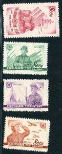 China Stamps - 1952 , C17 , Scott 159-162 25th Anniv. of Founding of the Chinese People's Liberation Army, MNH, F-VF (90159)