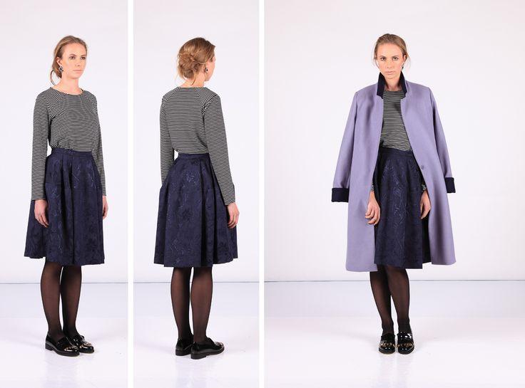 Haze Coat Stripe Top Geyser Skirt
