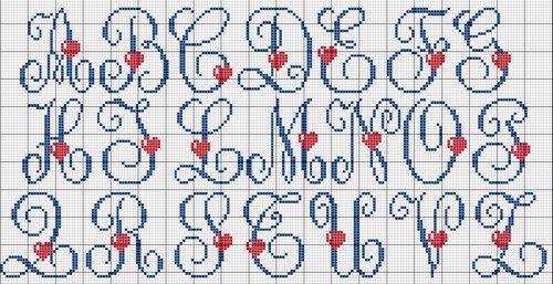 Schemi punto croce - Alfabeto con cuori