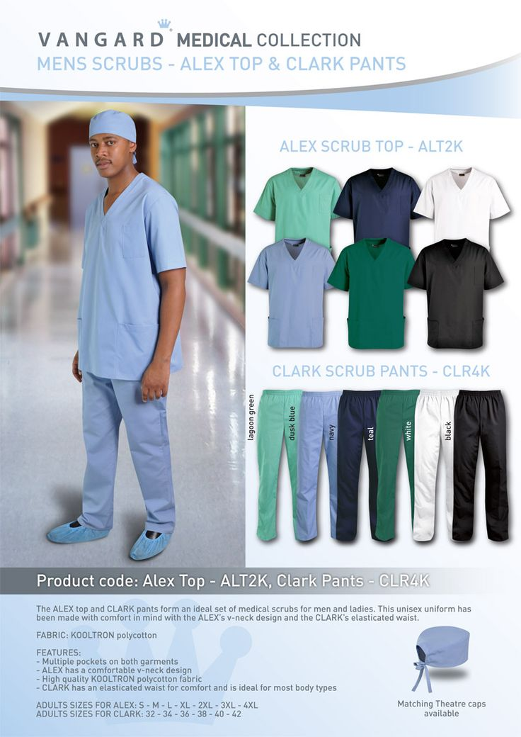 The clark scrubs pants form an ideal set of medical scrubs for men and ladies. This unisex uniform has been made with comfort in mind with elasticated waist and easy cool fabrics.  Features:  Multiple pockets on both garments. High quality KOOLTRON polycotton fabric. Elasticated waist for comfort. Unisex Sizes: 32 - 34 - 36 - 38 - 40 - 42 Branding options: Embroidery Colours: Lagoon Green, Teal, Sky Blue, Black, White, Teal Pair with the Alex top and Theatre Cap to complete this…