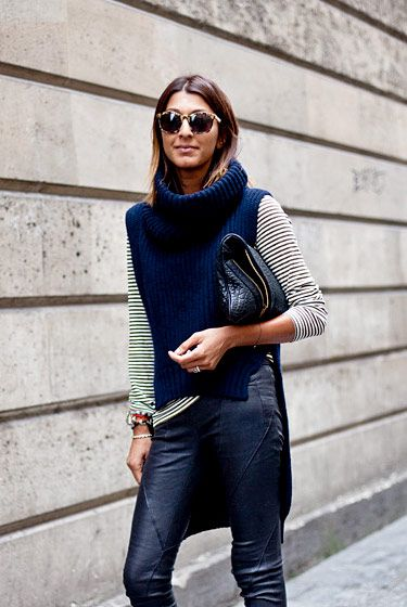 want that vest.Fashion Style, Street Style, Fall Looks, Fashion Blog, Fall Outfit, Leather Pants, Knits Sweaters, Chunky Knits