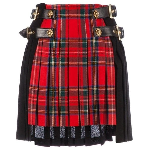 FAUSTO PUGLISI tartan kilt ($860) ❤ liked on Polyvore featuring skirts, юбки, tartan skirt, plaid skirt, tartan plaid skirt, red skirt and fausto puglisi