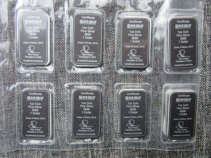 """Cook Eilanden: 8 x 1 Oz zilverbaren """"The Bounty zeilschip 2015"""" Sealed .999  Cook Eilanden : 8 zilverbaren van 311 gr .999 zilver2O15 Sealed met certificaat bij elk baartjeafbeelding : Queen Elisabeth II en zeilschip """"The Bounty""""producent : Sunshine Minting Inc Idaho USABekijk de afbeeldingen voor een eigen indruk.Worden aangetekend verstuurd  EUR 197.00  Meer informatie"""