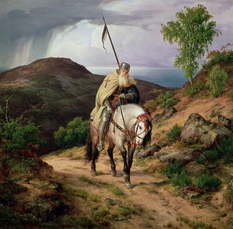 """A rather less benevolent crusader than those of the """"truth-driven"""" historian variety.  The Last Crusader by Karl Friedrich Lessing. Wikimedia Commons."""