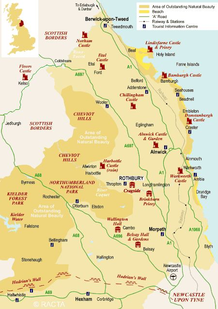 northumberland tourist map google search