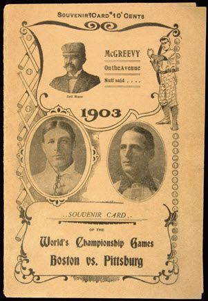 FIRST WORLD SERIES of baseball, PITTSBURGH, PENNSYLVANIA - A vintage program from the first ever World Series in 1903,  matches the Boston Americans against the Pittsburgh Pirates in a best-of-nine series. Boston prevailed five games to three.