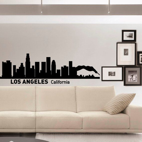 Wall Decals Vinyl Stickers Los Angeles Skyline Silhouette California City Wall Decal Removable Wall Art Home Decor World Map Wall Decor Vinyl Wall Decals Home