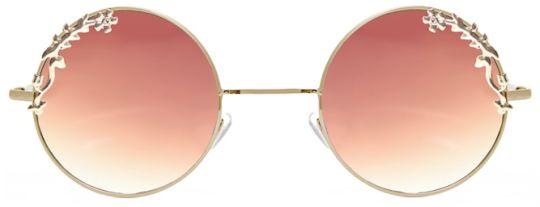 lunettes de soleil rondes doré a verres marron degradé à detail fleuris doré, claire's